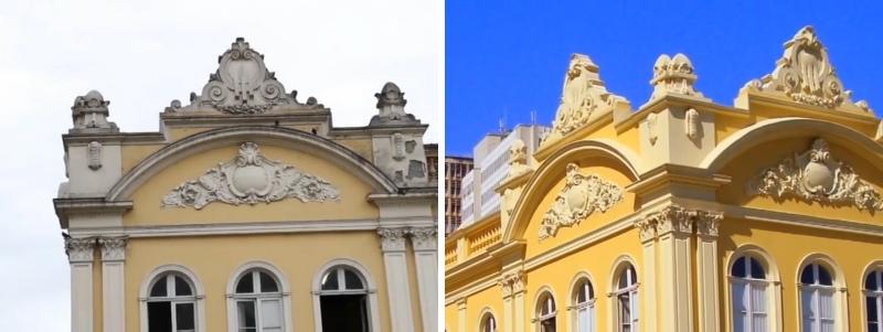 """A edificação, diz Aurvalle, possui características neoclássicas, que podem ser observadas, por exemplo, na simetria da planta, com os eixos bem definidos. """"É uma planta quadrada, de forma geométrica regular. Destaque também para a quantidade e a qualidade dos adornos. Não existe exagero. O que existe é uma marcação de fachada, de importância e qualidade estética agregada ao edifício"""", analisa."""
