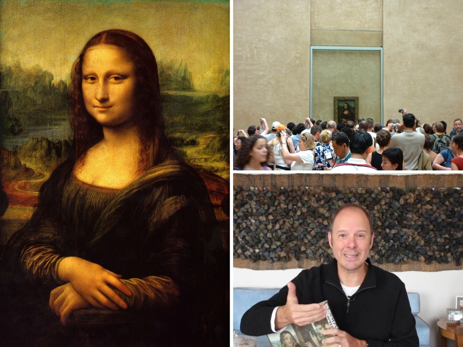 """Mas e o que isso tem a ver com a Mona Lisa e o Louvre? Bom, Englert explica que, após alguns anos servindo o rei, Da Vinci acaba morrendo. """"O rei, muito dadivoso, ficou preocupado com o companheiro de Da Vinci, pois este não teria mais rendas. Num gesto de bondade, resolveu comprar o acervo que Leonardo carregou consigo durante a vida toda. E no acervo estava o quadro da Mona Lisa"""", conta."""